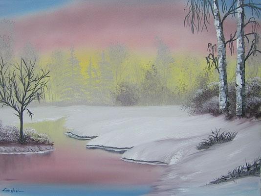 Winterlandschaft mit Birken 45x60