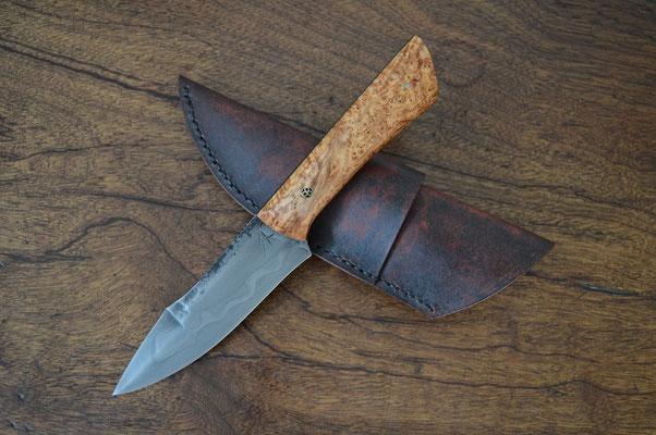 #98, chasse/fighter, loupe de frêne & rivet mosaïque