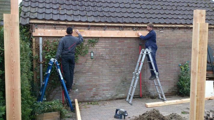 stuurnbalk aan de muur bevestigen