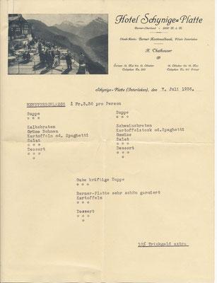 Schynige Platte/Offerte für Menü Fr. 3.50/Pers.