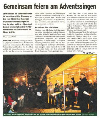 Adventssingen 2015:: Bericht im Furttaler von W. Glogger