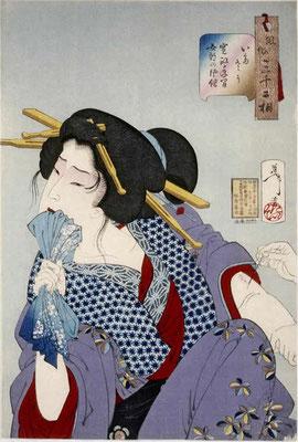Historische Darstellung einer Frau, die unter Schmerzen tättowiert wird