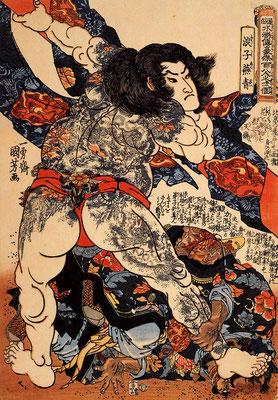 Historische Darstellung eines mit Tättowierungen bedeckten Kriegers