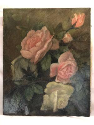 les hangars st michel, huile sur toile bouquet de fleurs