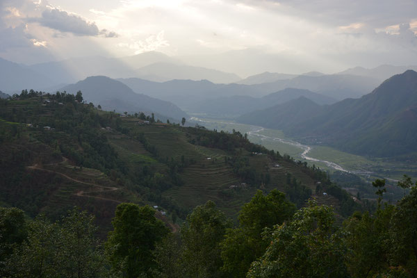 view from thanapati to center village and likhu valley