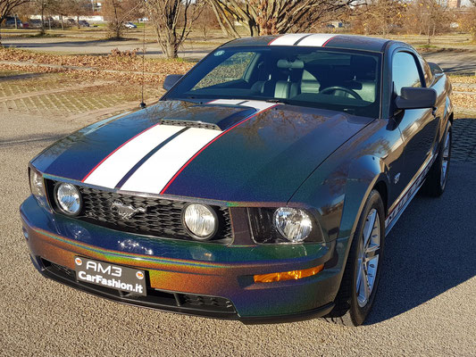 Ford Mustang GT - Kinetic dragonfly black and stripes - Wrapping completo e decorazione