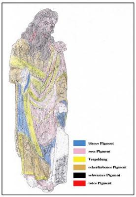 Kartierung der ursprünglichen farbigen Fassung