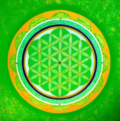 Blume des Lebens Grün: Wachstum und Fülle 40x40