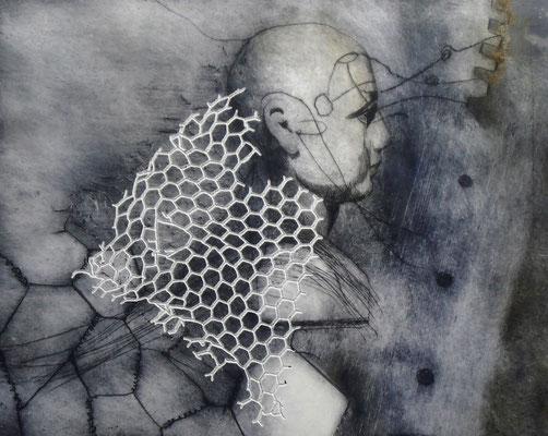 """Aus der Serie """"heads"""": """"be-Haupt-ung 3""""/Original Druckgrafik/original etching/39x49cm/2014"""