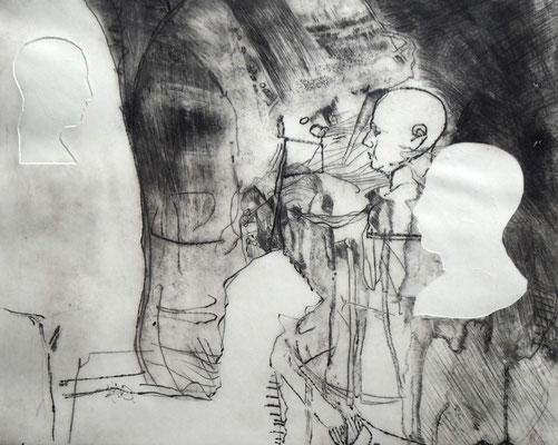 """Aus der Serie """"heads"""": """"be-Haupt-ung 4""""/Original Druckgrafik/original etching/39x49cm/2014"""