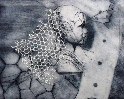 """Aus der Serie """"heads"""": """"be-Haupt-ung 5""""/Original Druckgrafik/original etching/39x49cm/2014"""