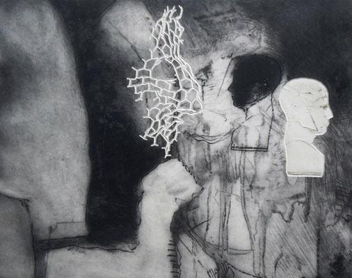 """Aus der Serie """"heads"""": """"be-Haupt-ung 7""""/Original Druckgrafik/original etching/39x49cm/2014"""