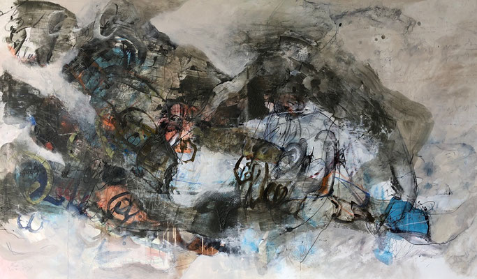 "Aus dem Werkzyklus ""Above or beyond"" (21) /MT auf Leinen/mixed media on canvas/120x200cm/2018"
