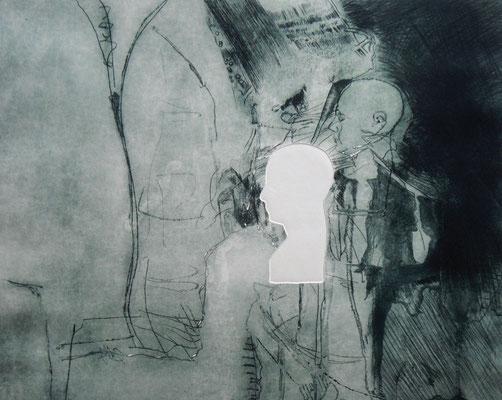 """Aus der Serie """"heads"""": """"be-Haupt-ung 1""""/Original Druckgrafik/original etching/39x49cm/2014"""