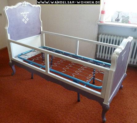 Kinderbett, Bett, Selber machen, DIY, Anleitung, Shabby Chic, Chalk Paint, Annie Sloan, Möbelbearbeitung, Möbel streichen, Bett neu gestalten, Bett streichen
