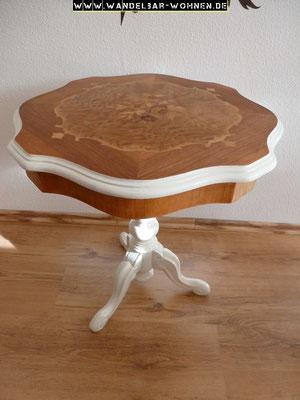 Beistelltisch, lackiert, Shabby Chic, Möbelstück lackiert, Intarsie, geschliffen, DIY, Selber machen