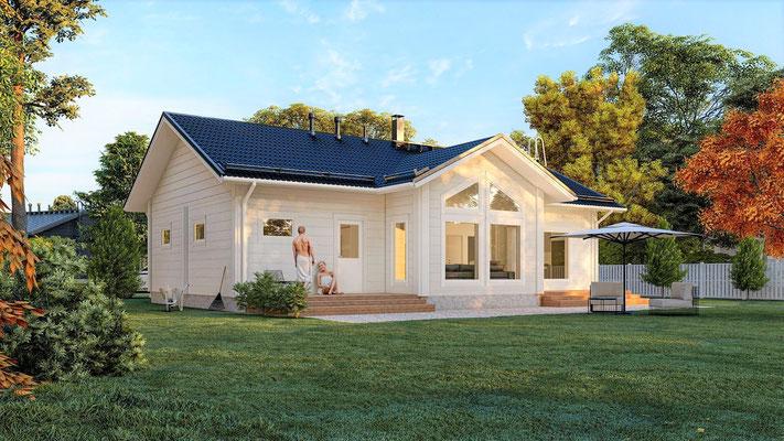 Maison en bois en madrier contre collé