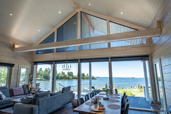 maison bois intérieur salon