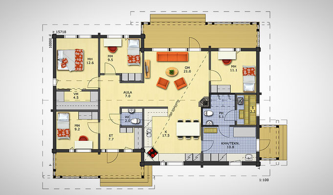 plan maison trois chambres