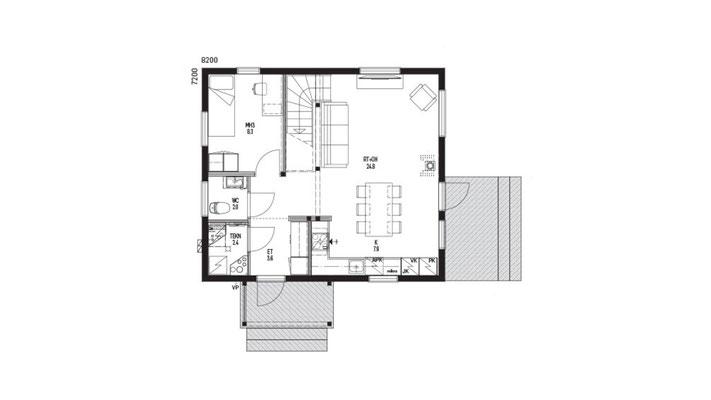 Plan RDC maison en bois