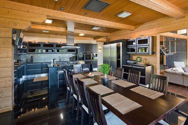 maison en bois cuisine