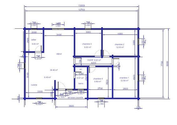 Plan chalet en kit 104 m².
