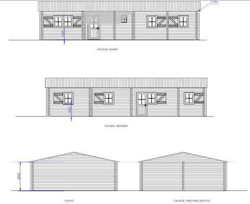 Plan de coupe chalet en kit 92 m²