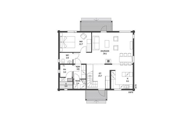 Plan maison en bois RDC