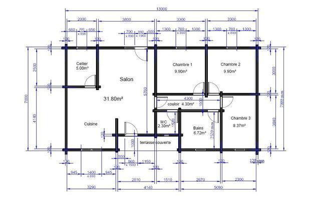 Plan du chalet en kit 92 m²