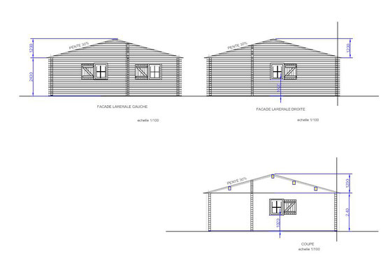 Plan de coupe chalet en kit 104 m².