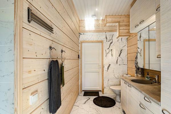 maison en bois salle de bain
