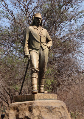 Statue of David Livingstone at Victoria Falls National Park, Zimbabwe.  Click pic to view Wikimedia source