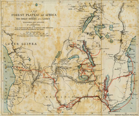 Map of David Livingstone's travels in Africa.  Click pic to view Wikimedia source.