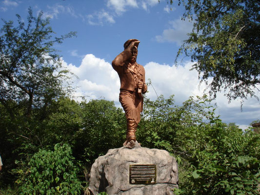 David Livingstone statue near Victoria Falls, Zambia.  Click pic to view Wikimedia source