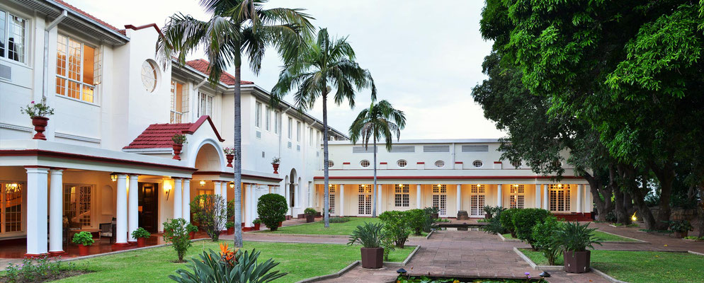 The Victoria Falls Hotel inner courtyard today