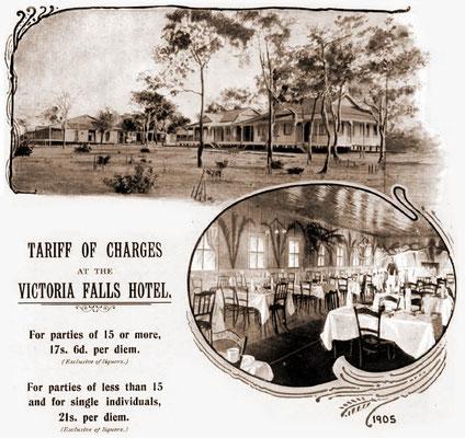 Victoria Falls Hotel advert circa 1905