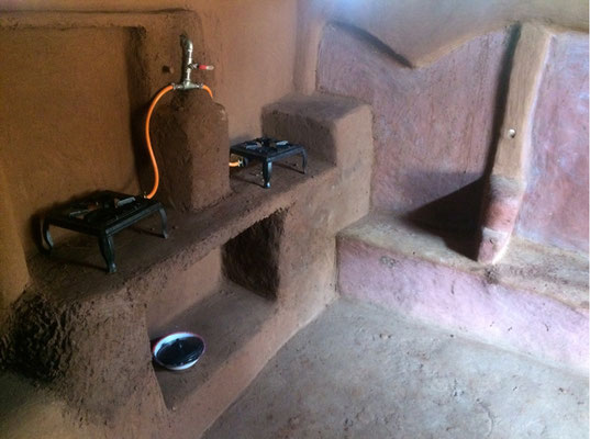 The new gas stove with correct piping installed at the Sibanda homestead
