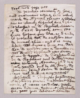 Manuscript of Footnote to Page 600: Addtition to Narrative of an Expedition to the Zambezi and its Tribuitaries, 1864-1865 by Charles Livingstone and David Livingstone. Copyright National Library of Scotland. Creative commons share-alike.