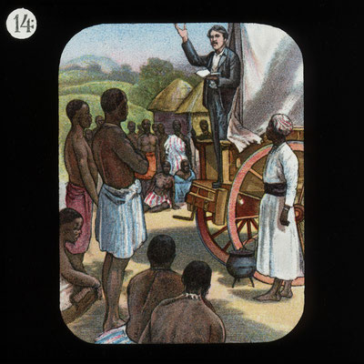 Preaching from a Waggon (David Livingstone) by The London Missionary Society.  Click pic to view Wikimedia source