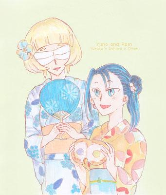 「ユノさん見てください!フクロウさんのお面ですよ~」「まあ!」浴衣なユノさんとレイン。