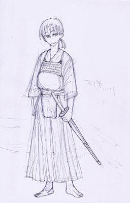 経験があれば描きやすいなって、思って。ヨルハは剣道経験者。