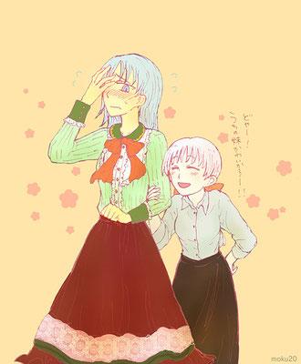 姉妹で衣装交換してみた。(照れるヨルハとどやってするヒマリが描きたかったのです) 0125