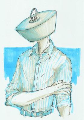 (ストライプのシャツが好きです。) 0604
