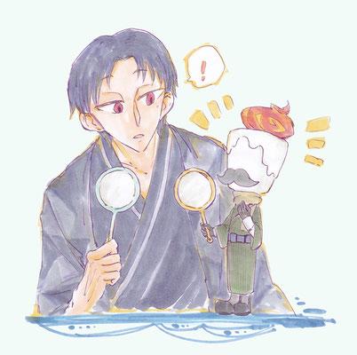 「セツナさん、実は私も少々金魚すくいの心得がありましてな…」 金魚すくいが得意な二人、キャンドルさんとセツナ。
