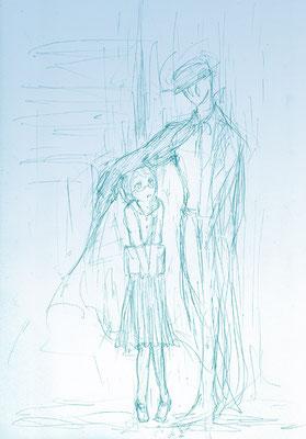 (雨降りのらくがき。ロングコートのヒトが雨に濡れないようにコートでかばってるのいいなって。)