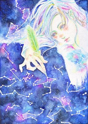 夜のおしごと/ A4/ ミクストメディア/ 2015年/ 個人蔵