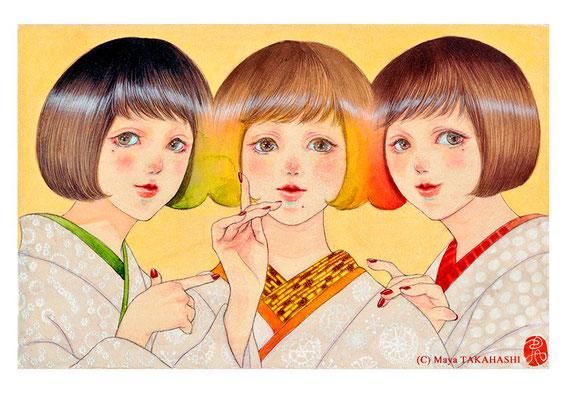茸の化け三姉妹 「オラたちゃ あばの家がええ!」/  F4/ アクリル、柿渋、ウッドパネル/ 2017年/ 個人蔵