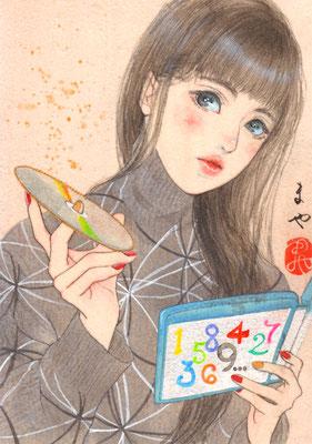 現代妖怪・皿かぞえ (円盤がコンプリートできない)/ A5/ アクリル、ウッドパネル/ 2017年/ 個人蔵