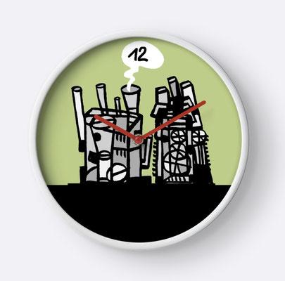 Wanduhr Denkfabrik, 12 Uhr, Mahlzeit!  / Design Theo Kerp
