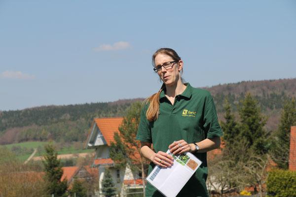 Frau Nina Hainzl gibt Erläuterungen zum Wildapfel